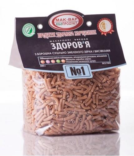 Макарони «ЗДОРОВ'Я» №1 з суцільнозмеленого зерна (0,5 кг)