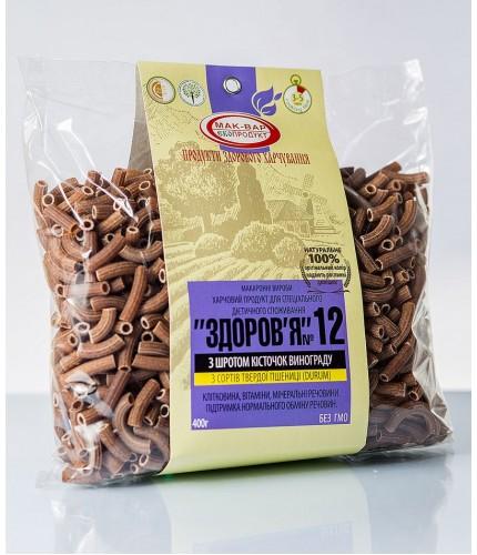 """Макароны """"ЗДОРОВЬЕ"""" №12 со шротом косточки винограда из твердых сортов пшеницы (0,4 кг)"""