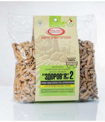 Макарони «ЗДОРОВ'Я» №2 з житніми висівками з твердих сортів (0,4 кг)