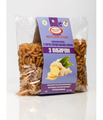 Макарони з імбиром з твердих сортів пшениці (0,4 кг)