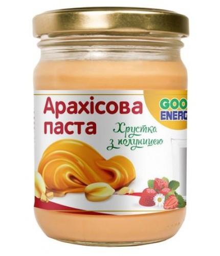 """Арахісова паста """"Good Energy"""" хрустка з полуницею, 250 г"""